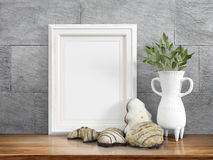 Mock up blank frame. 3d rendering Stock Photo