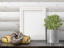 Mock up blank frame. 3d rendering. Mock up blank photo frame on the table. on the table Royalty Free Stock Photography