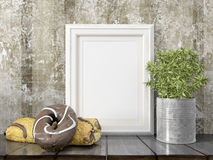 Mock up blank frame. 3d rendering. Mock up blank photo frame on the table. on the table Royalty Free Stock Photos