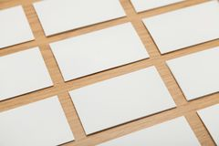 Blank papers on wooden table. Mock up blank papers table white render view design Royalty Free Stock Photos