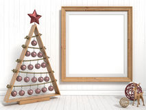 Mock up blank picture frame, Christmas decoration. 3D render Royalty Free Stock Photography