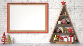 Mock up blank picture frame, Christmas decoration and gifts. 3D render vector illustration