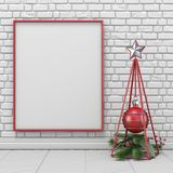 Mock up blank picture frame, Christmas decoration wireframe pyra. Mid and decoration ball 3D render illustration Royalty Free Stock Image
