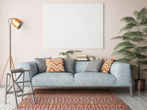 Mock Up Blank Poster On The Wall Of Living Room Royalty Free Stock Images