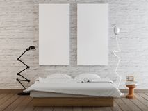 Mock up blank poster on the wall of bedroom background royalty free illustration