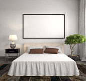 Mock up blank poster on the wall of bedroom. 3D Illustration Royalty Free Stock Photos