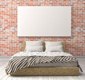 Mock up blank poster on the wall of bedroom. 3D Illustration Royalty Free Stock Photo