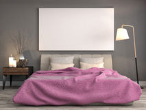 Mock up blank poster on the wall of bedroom. 3D Illustration Stock Photo