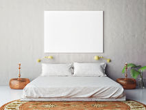 Mock up blank poster on the wall of bedroom Royalty Free Stock Photography