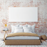 Mock up blank poster on the wall of bedroom, Royalty Free Stock Photo
