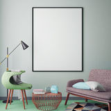 Mock up blank poster on the wall of hipster living room, Royalty Free Stock Photography