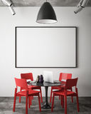 Mock up blank poster on the wall of hipster meeting room, Stock Images