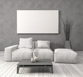 Mock up blank poster on the wall of interior with sofa. 3D Illus Royalty Free Stock Photo