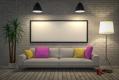 Mock up blank poster on the wall with lamp and sofa Royalty Free Stock Photos