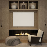 Mock up blank poster at the wood wall fireplace of living room. 3D render Stock Photos