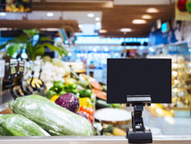Mock up Blank sign display in supermarket Interior background. Retail shopping concept royalty free stock photo