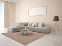 Mock up a bright and comfortable living room. Royalty Free Stock Image