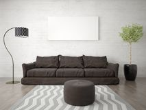 Mock up a bright living room with a trendy brown sofa. Royalty Free Stock Photography