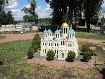 Mock-up of the building of the Vladimir Cathedral at the exhibition of cues in miniature. City park summer open air mock-up of the building of the Vladimir royalty free stock photography