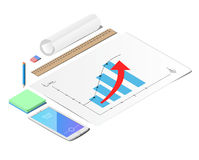 Mock up Business strategy. The sheets of paper. The eraser and the pencil. Mobile phone. Line. The roll of paper. Schedule of profit growth. mock up Business royalty free illustration