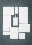 Mock-up business template with cards, papers, pen. Gray background. Royalty Free Stock Photo