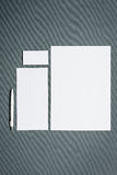 Mock-up business template with cards, papers, pen. Gray background. Mock-up business template with cards, papers, pen on gray background royalty free stock images