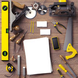 Mock up business template. Carpenter's workspace. Stock Photography