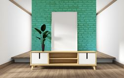 Mock up cabinet design, modern living room with mint brick wall on white wooden floor. 3d rendering. Cabinet design, modern living room with mint brick wall on stock illustration