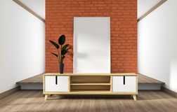 Mock up cabinet design, modern living room with orange brick wall on white wooden floor. 3d rendering. Cabinet design, modern living room with orange brick wall royalty free illustration