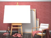 Mock up canvas frame with easy chair, easel, floor and red wall. Royalty Free Stock Images