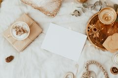 Mock Up Card. Background With Coffee Cup, Cookies and Gold Decorations in Bed. Morning Sweet Home, Still Life Concept. Flat lay, Top view, Copy Space stock photo