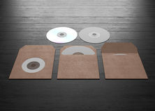 Mock up of cardboard packaging for a compact disk. 3d rendering. Stock Image