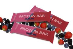Mock up of a cereal bar packaging on a white background with red fruits  - 3d rendering vector illustration