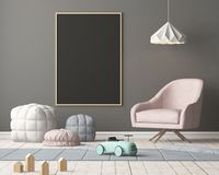 Mock up chalkboard in the children bedroom. 3d rendering. vector illustration