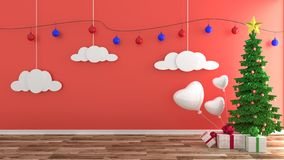 Christmas decorations room design. 3D rendering. Mock up Christmas decorations room design. 3D rendering royalty free illustration