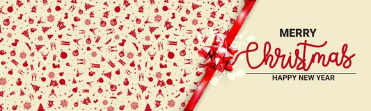 Mock up for Christmas holiday cards. Ribbon tied banner with bow. - Vector