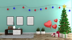 Christmas style , mint room interior, modern style. 3D rendering vector illustration