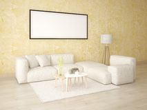 Mock up a classic living room with a light corner sofa. Mock up a classic living room with a light corner sofa on a background of yellow decorative plaster Stock Image