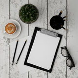 Mock up clipboard with interior background, Royalty Free Stock Photos