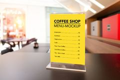 Mock up coffee menu with acrylic frame royalty free stock photo