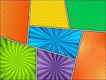 Mock-up of colorful comic backgrounds. With halftone dotted and radial humor effects. Vector illustration Stock Photo