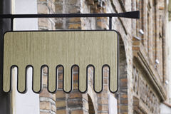 Mock up comb shaped signboard for hair salon or beauty salon Royalty Free Stock Photos