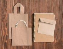 Mock up with craft bag, sketchbooks and envelope Stock Photo
