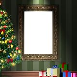 Mock up 3d vintage frame with decorative christmas tree and gift Royalty Free Stock Photo