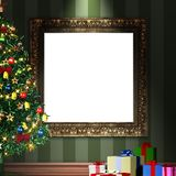 Mock up 3d vintage frame with decorative christmas tree and gift Stock Image
