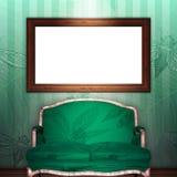 Mock up 3d vintage frame hanging on wall.  Royalty Free Stock Image