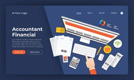 Mock-up design website flat design concept accountant financial. Vector illustration Stock Images