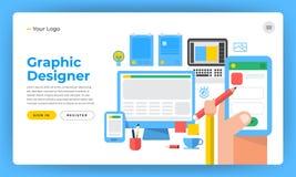 Mock-up design website flat design concept the designer like gra. Phic website application and design tools. Vector illustration vector illustration