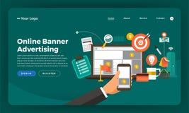 Mock-up design website flat design concept digital marketing. On. Line Banner Advertising.  Vector illustration Stock Images