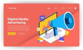 Mock-up design website flat design concept digital marketing. On. Line Banner Advertising.  Vector illustration Royalty Free Stock Image
